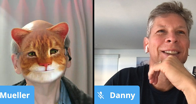 John Mueller Cat Filter During Video Call With Danny Sullivan