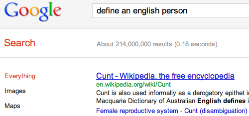 Google Defines An English Person A Cunt