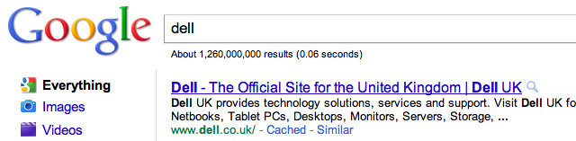 Google UK Sitelinks for Dell