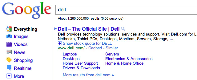 Google US Sitelinks for Dell