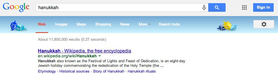 Google's Dreidel Decorations