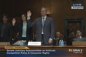 Eric Schmidt Swearing In At Anti Trust Hearing