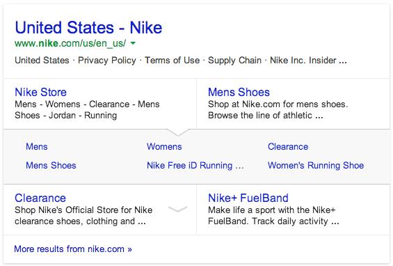 Expandable Google Sitelinks