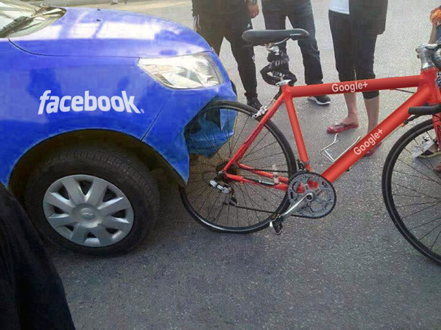 Facebook & Google+ Auto/Bike Accident