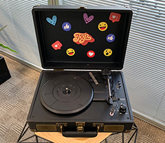 Facebook Vinyl Record Player With Records Swag