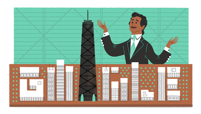 Google Skyscraper Logo For Fazlur Rahman Khan