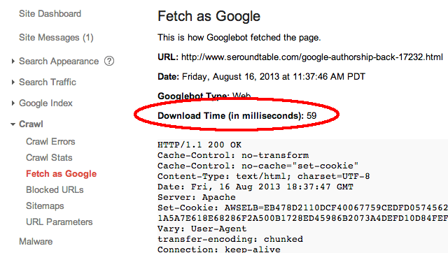 GoogleBot Download Time