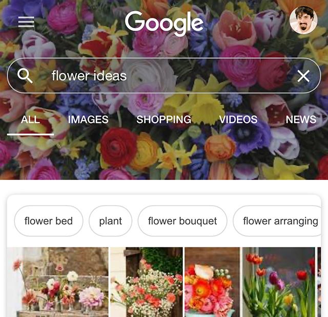 """Beispiel für einen Header passend zur Suchanfrage """"flower ideas"""" in der mobilen Google-Suche"""