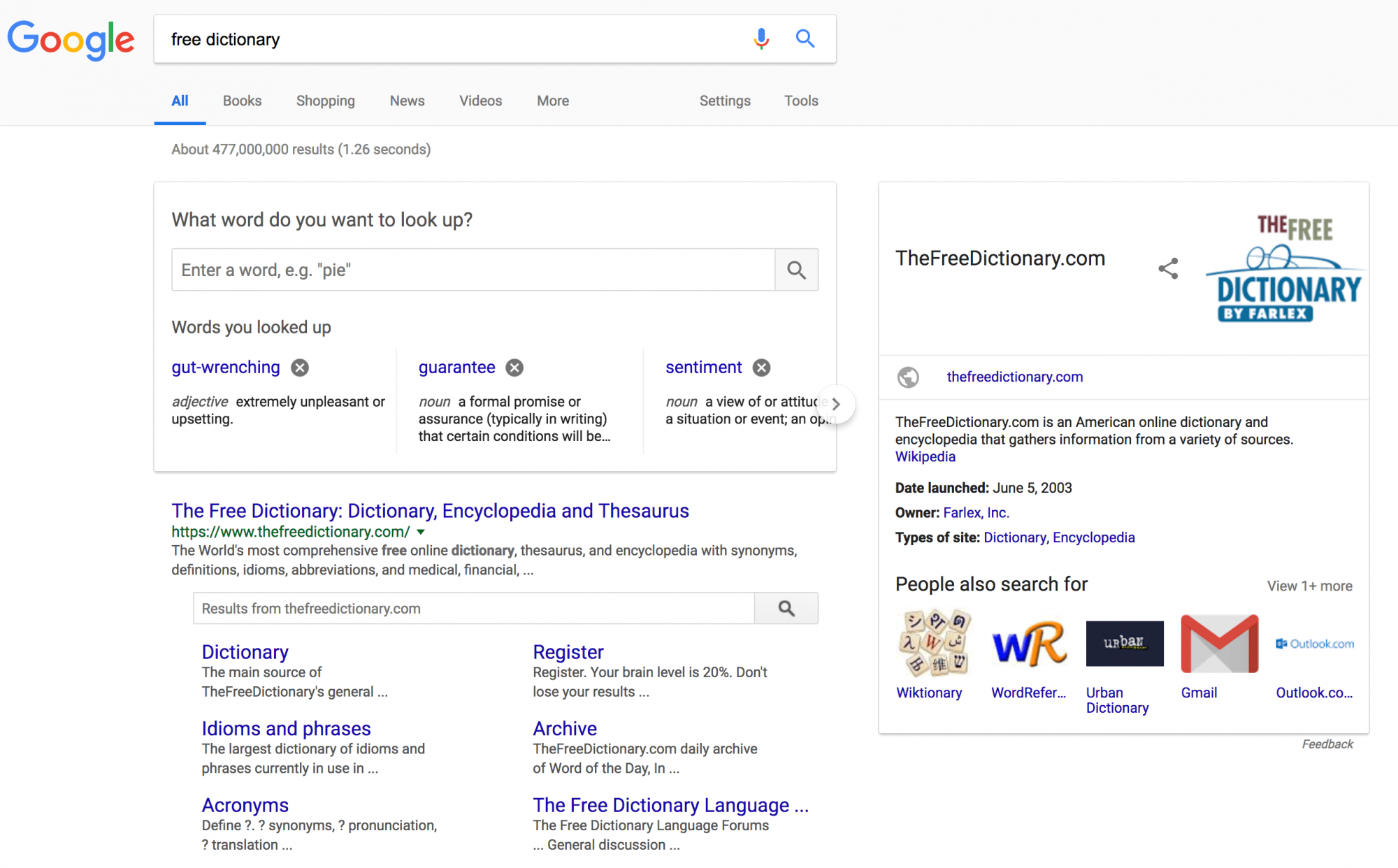 Google Shows Their Dictionary Widget For Branded Free Dictionary Search