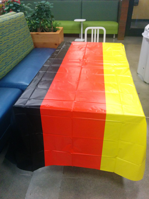 Google Lunch Room Has German Flag Table Cloths For World Cup Win