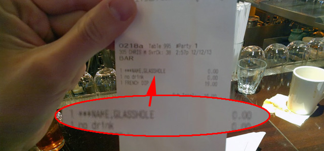 Glasshole Printed On Bar Receipt