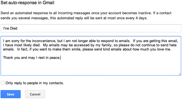 Gmail Dead Auto-Responder