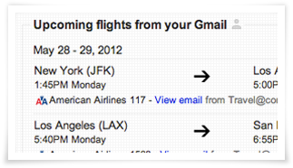 Gmail Flights in Search
