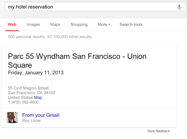 Gmail Hotel Search