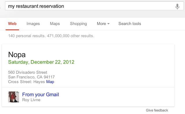 Gmail Restaurant Search