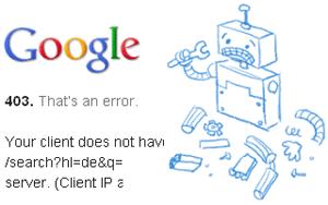 google 403 error