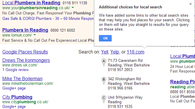 Google Search With Additional Choices For Local Search Providers