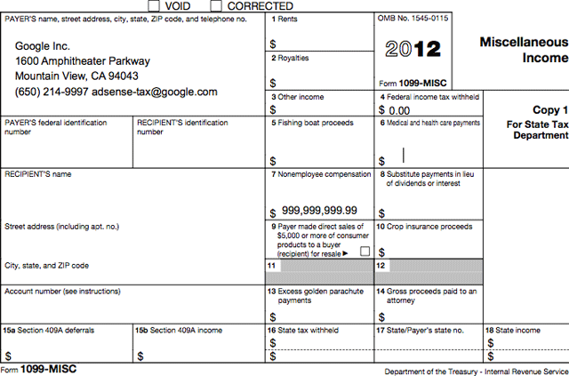 Google Sending 1099 Tax Forms To AdSense Publishers