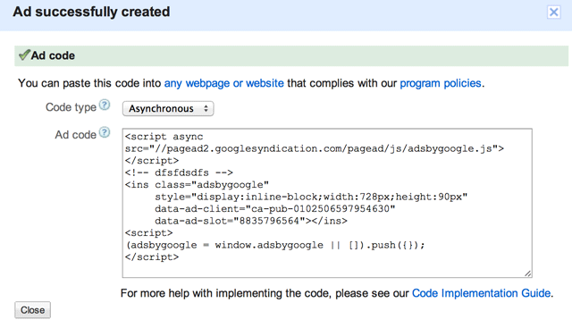 Google AdSense Asynchronous Code