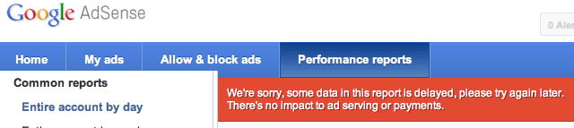 Google AdSense Delayed Reporting Warning