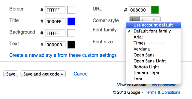 Google AdSense Adds 5 New Font Types