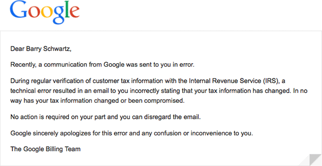 Google AdSense: Google tax change email sent in error
