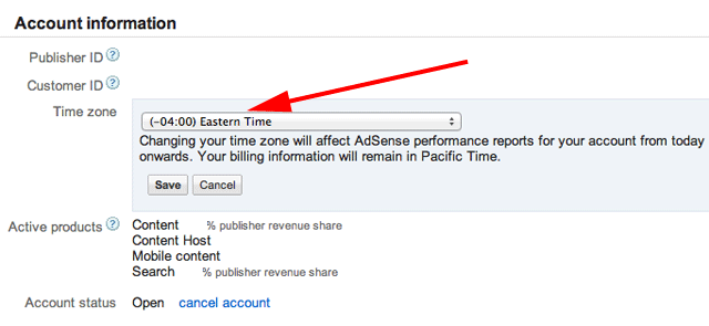Google AdSense time zone