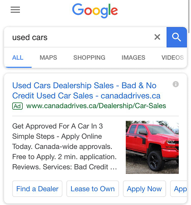 google adwords testing placing landing page image into ad