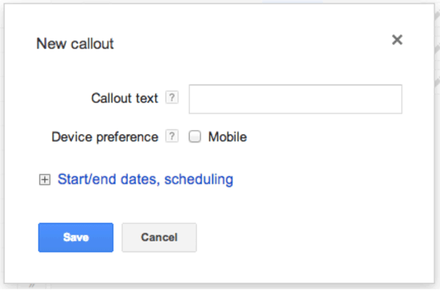 Google AdWords Callout Extensions Editor