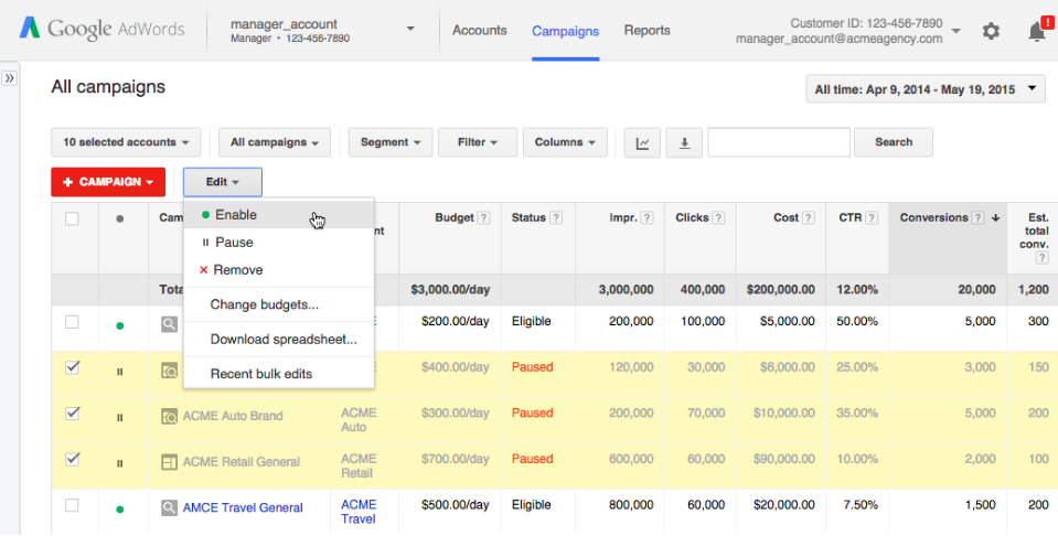 Google AdWords Adds Cross-Account Campaign Management For