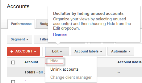 Google AdWords MCC Advertisers Can Now Declutter
