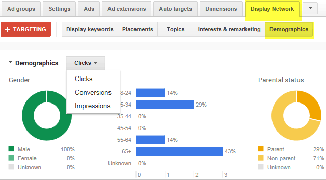 Google AdWords Graphs For Demographic Reporting