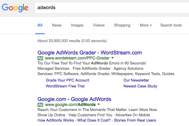 Google AdWords Green Ad Label