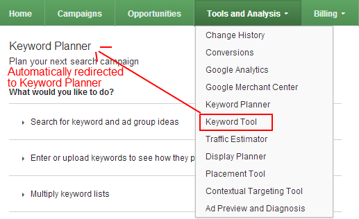 AdWords Keyword Planner Redirect