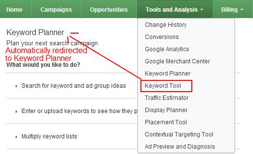 AdWords Keyword Planner Redirect