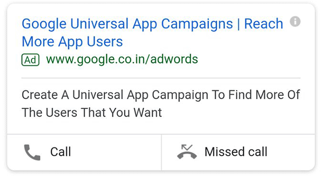Google AdWords Missed Call Ad Extension