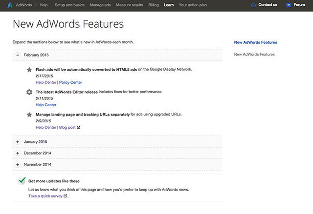 Google AdWords Updates Page