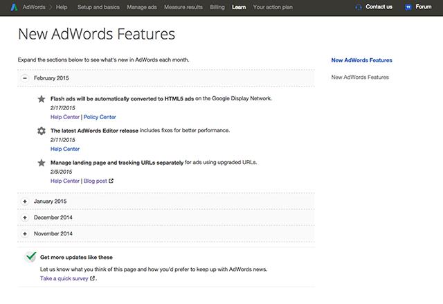 Google AdWords Updates Page