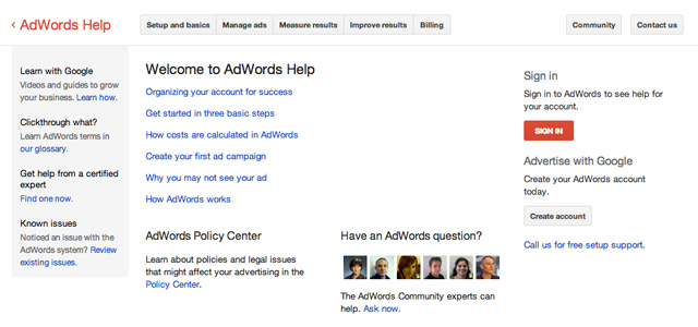 Old Google AdWords Help Center