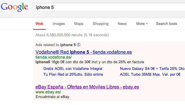 Google AdWords Off Pink Color