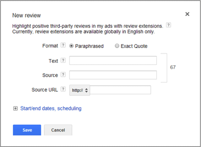 Google AdWords Review Ad Extensions