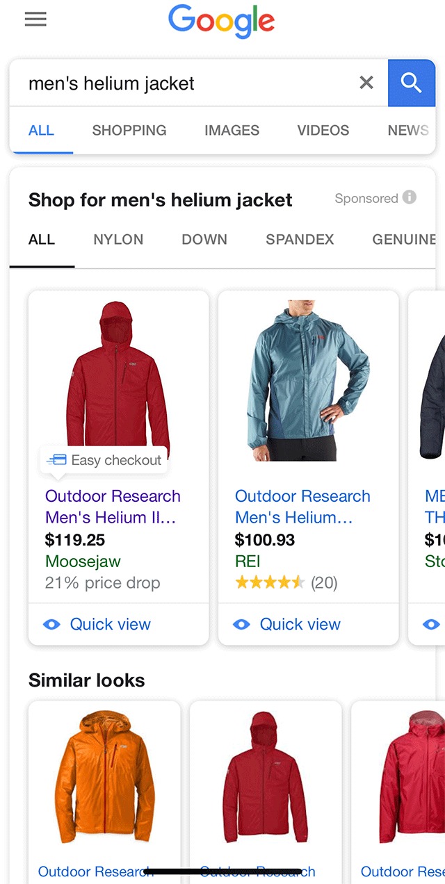 Google AdWords Shopping Ads Similar Looks & Easy Checkout