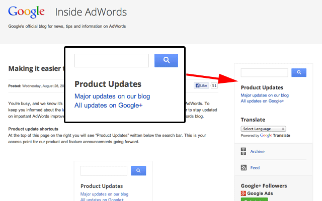 Google AdWords Adds Product Updates Box To Blog