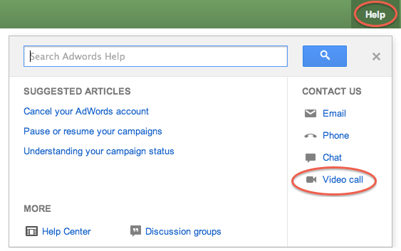 Google AdWords Video Call Support