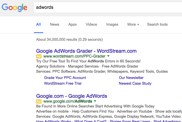 Google AdWords Yellow Ad Label
