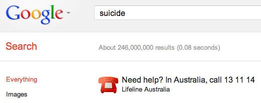 Google Australia Suicide
