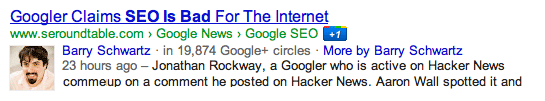 Google Authorship Snippet Old