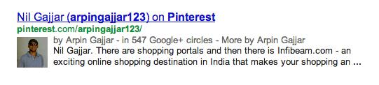 Google Authorship Pinterest