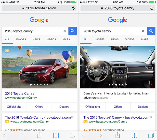 Google AdWords OEM Automotive Ads