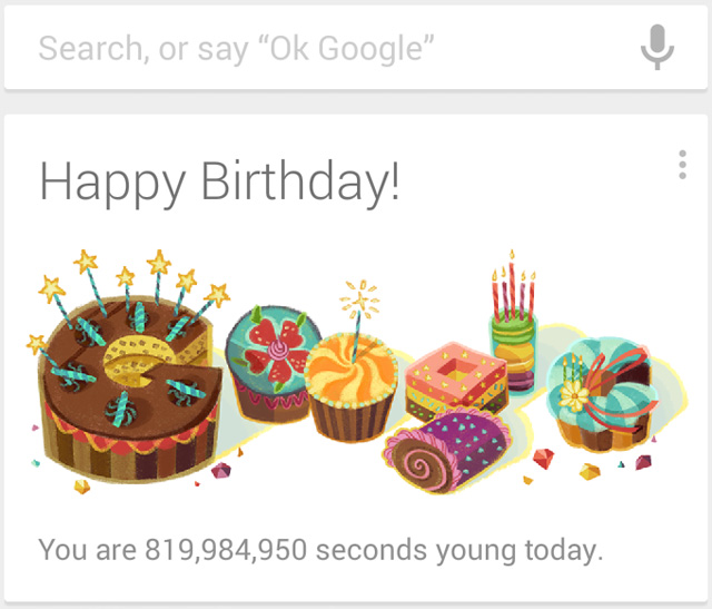 Google Birthday Doodle Shows Your Age In Seconds
